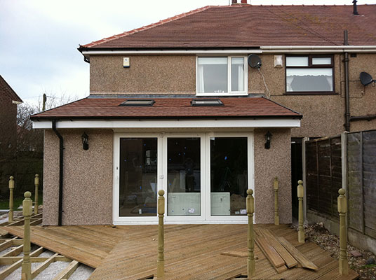 Extension with wood decking