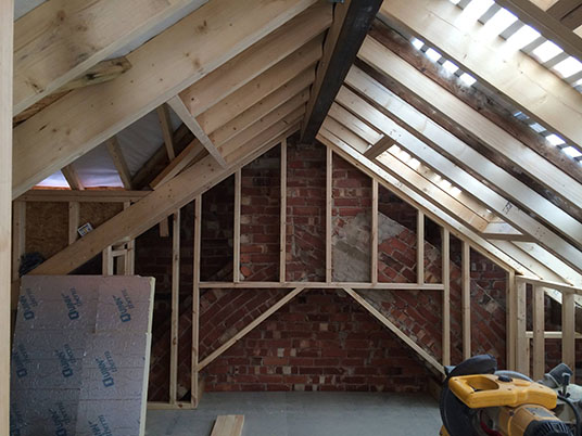 Hip to gable loft conversion truss roofing building for Truss lofts