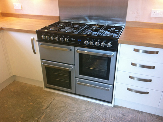 white kitchen with range cooker