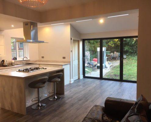Kitchen Extension with Aluminium Bi fold doors