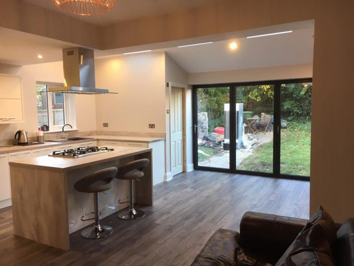 Kitchen Extension with Aluminium Bi fold doors